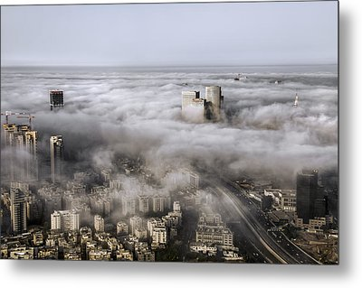 Metal Print featuring the photograph City Skyscrapers Above The Clouds by Ron Shoshani