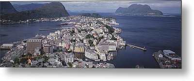 Cityscape Alesund Norway Metal Print by Panoramic Images