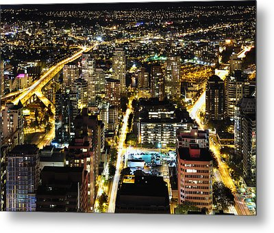Metal Print featuring the photograph Cityscape Golden Burrard Bridge Mdlxiv by Amyn Nasser