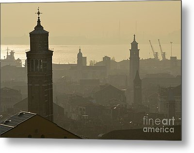 Cityscape Of Venice And Cranes Silhouettes Metal Print by Sami Sarkis