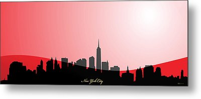 Cityscapes- New York City Skyline In Black On Red Metal Print