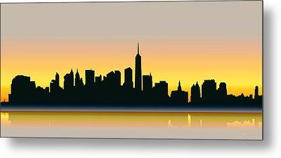 Cityscapes - New York Skyline - Dawn Metal Print by Serge Averbukh