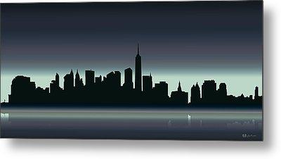 Cityscapes - New York Skyline - Dusk Metal Print by Serge Averbukh