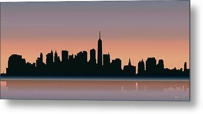 Cityscapes - New York Skyline - Sunset Metal Print by Serge Averbukh
