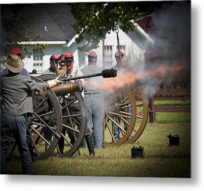 Metal Print featuring the photograph Civil War Cannon Fire by Ray Devlin