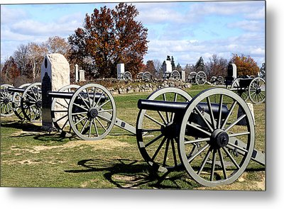 Civil War Cannons At Gettysburg National Battlefield Metal Print by Brendan Reals