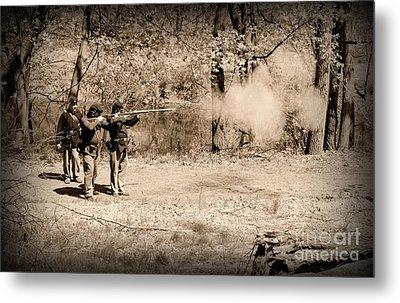 Civil War Soldiers Firing Muskets Metal Print by Paul Ward