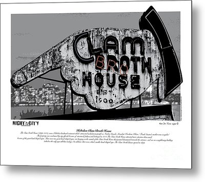 Clam Broth House Sign Metal Print by Kenneth De Tore