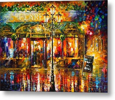 Clarens Misty Cafe Metal Print by Leonid Afremov
