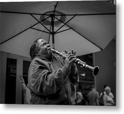 Clarinet Player In New Orleans Metal Print