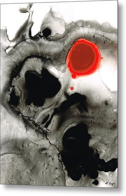 Clarity - Black And White Art Red Painting Metal Print by Sharon Cummings
