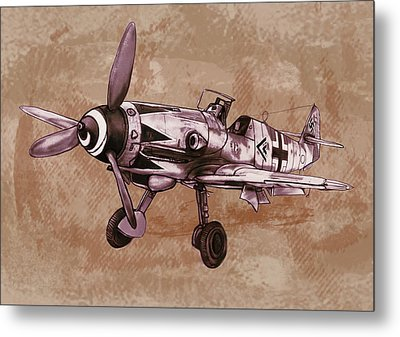 Classic Airplane In World War 2 - Stylised Modern Drawing Art Sketch Metal Print