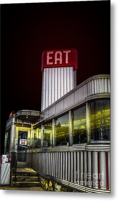 Classic American Diner At Night Metal Print by Diane Diederich