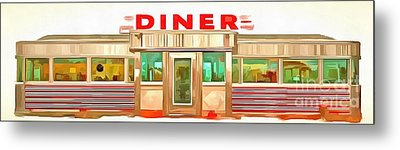 Classic Americana Diner Pop Metal Print by Edward Fielding