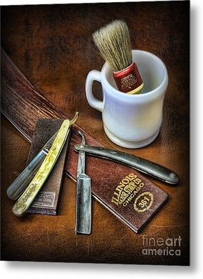Metal Print featuring the photograph Classic Barber Shop Shave - Barber Shop by Lee Dos Santos