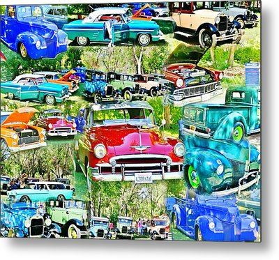 Classic Car Collage Metal Print