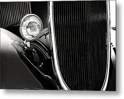 Classic Car Grille Black And White Metal Print by M K  Miller
