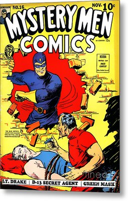 Classic Comic Book Cover - Mystery Men Comics - 1200 Metal Print by Wingsdomain Art and Photography
