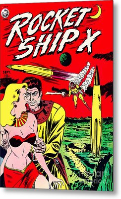 Classic Comic Book Cover - Rocket Ship X - 1225 Metal Print by Wingsdomain Art and Photography