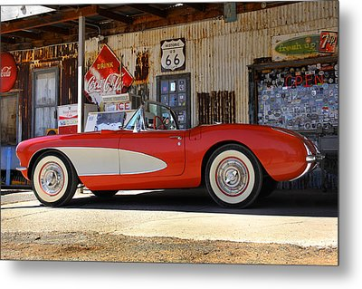 Classic Corvette On Route 66 Metal Print