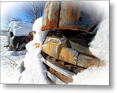 Classic Ford Pickup Truck In The Snow Metal Print by Edward Fielding