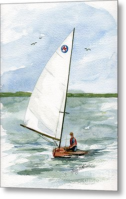 Metal Print featuring the painting Classic Moth Boat by Nancy Patterson