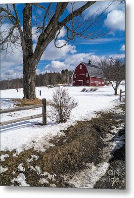 Classic New England Farm Scene Metal Print by Edward Fielding