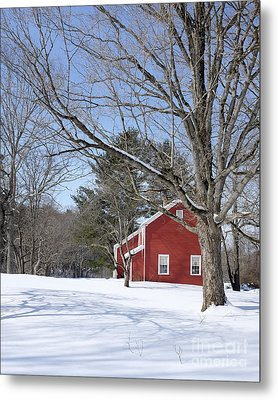 Classic Vermont Red House In Winter Metal Print by Edward Fielding