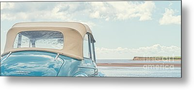 Classic Vintage Morris Minor 1000 Convertible At The Beach Metal Print by Edward Fielding