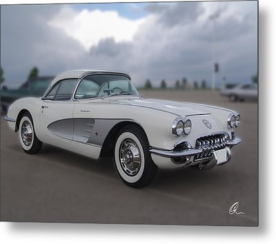 Classic White Corvette Metal Print by Chris Thomas