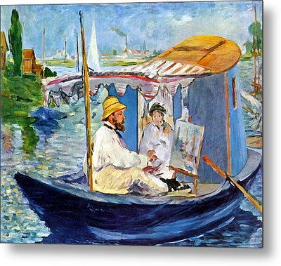 Claude Monet In Argenteuil Metal Print by Edouard Manet