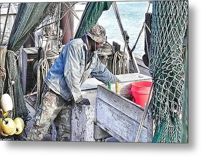 Cleaning Up After The Haul Metal Print by Patricia Greer