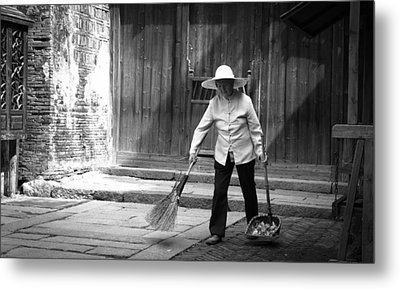 Cleaning Up Metal Print by Becky Kozlen