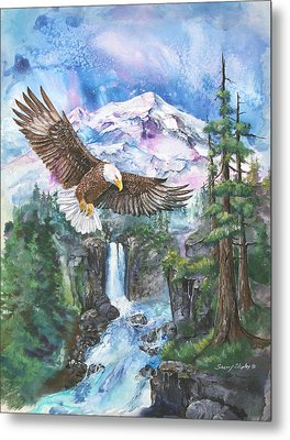 Metal Print featuring the painting Cleared For Landing Mount Baker by Sherry Shipley