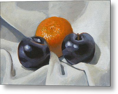 Clementine And Plums Metal Print by Peter Orrock