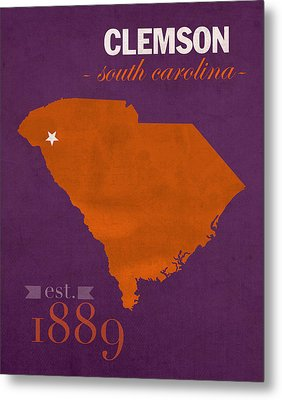 Clemson University Tigers College Town South Carolina State Map Poster Series No 030 Metal Print