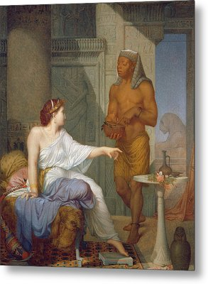 Cleopatra And Her Slave  Metal Print by Henri Blaise Francois Dejussieu