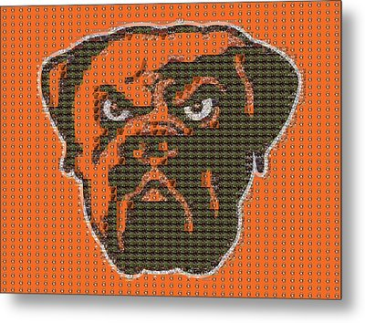 Cleveland Browns Mosaic Metal Print by Dan Sproul
