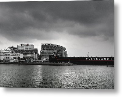 Cleveland Browns Stadium From The Inner Harbor Metal Print by Kenneth Krolikowski