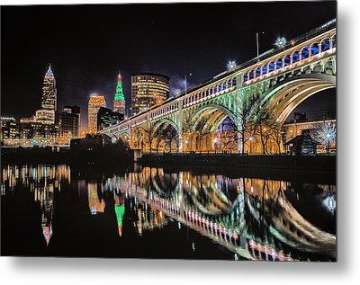 Cleveland Christmas Bridge Metal Print