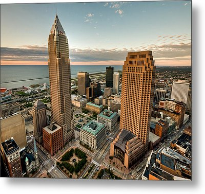 Cleveland From A Birds Eye View Metal Print by Brent Durken