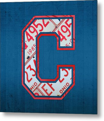 Cleveland Indians Baseball Team Vintage Logo Recycled Ohio License Plate Art Metal Print by Design Turnpike