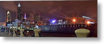 Cleveland Lakefront Night Panorama Metal Print