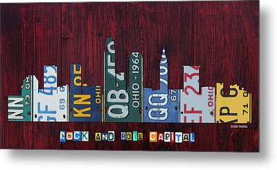 Cleveland Ohio City Skyline License Plate Art On Wood Metal Print by Design Turnpike