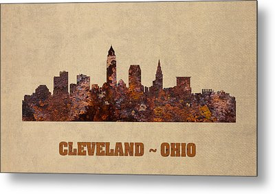 Cleveland Ohio City Skyline Rusty Metal Shape On Canvas Metal Print by Design Turnpike