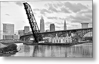Cleveland Over The Cuyahoga Metal Print by Frozen in Time Fine Art Photography