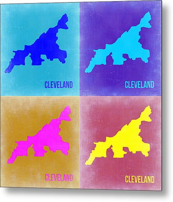 Cleveland Pop Art Map 2 Metal Print by Naxart Studio