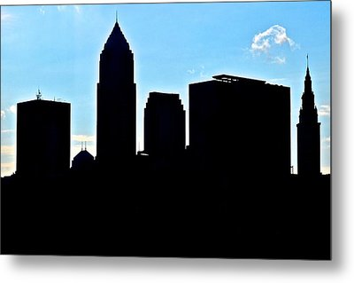 Cleveland Silhouetted Metal Print
