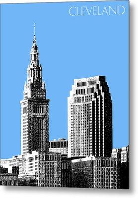 Cleveland Skyline 1 - Light Blue Metal Print by DB Artist