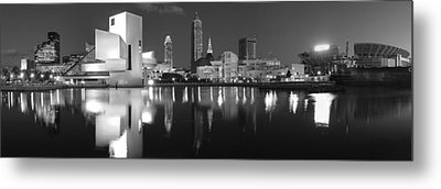 Cleveland Skyline At Dusk Black And White Metal Print